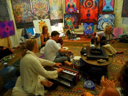 Kirtan jam session.